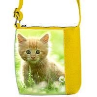 Желтая сумка для девочки с принтом Рыжая кошка