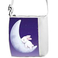 Белая детская сумочка для девочки Little princess с принтом Заяц
