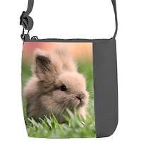 Серая сумка для девочки с принтом Кролик