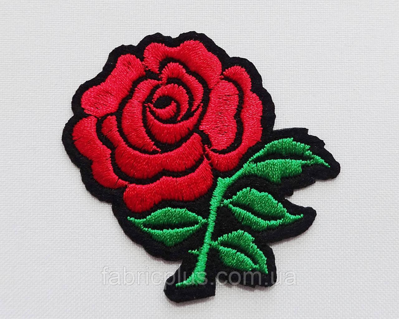 Аплікація (термо) червона троянда на чорному