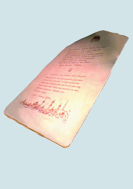 Более дорогостоящее поздравление нанесено на  лайковую или телячью кожу с помощью росписи, тиснения или вышивки