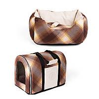 Сумка переноска и лежак для собак и котов Zoom Zoom Zoo Natural коричневый