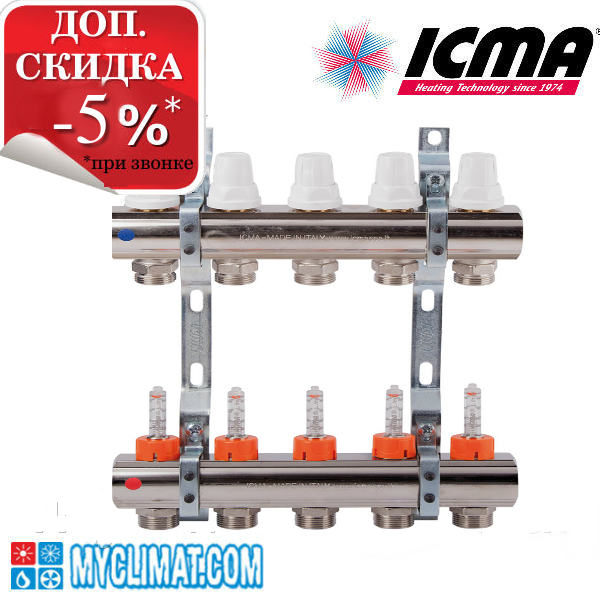 Коллектор Icma на 5 выходов c расходомерами K013-K014