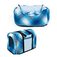 Сумка переноска и лежак для собак и котов Zoom Zoom Zoo Natural синий