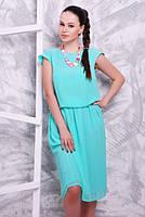 Летнее платье из шифона №1601 р. 42-52 мята