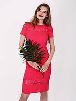 Платье с гипюровыми вставками - 1002