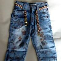 Модные потертые с рисунком джинсовые шорты для девочек