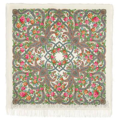 """Платок павлопосадский шерстяной с шелковой бахромой """"В мире любви"""", вид 0, 146x146 см"""