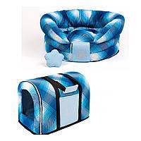 Сумка переноска и лежак для собак и котов Zoom Zoom Zoo Bizet синий