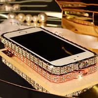 Золотистый металлический бампер с камушками Swarovski для iPhone 5/5S