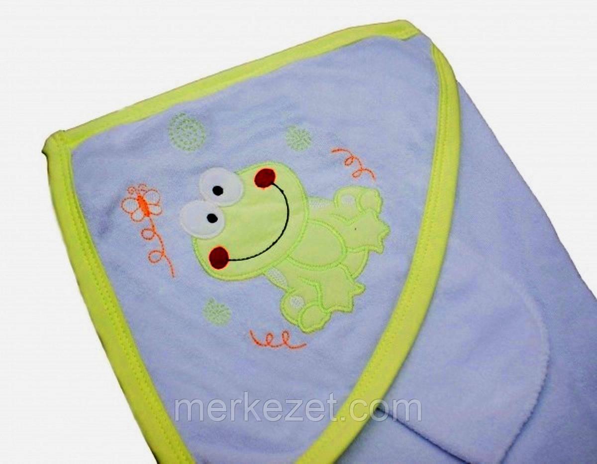 """Уголок для купания """"Лягушонок 2"""". Полотенце для купания. Полотенце с капюшоном. Пончо детское"""