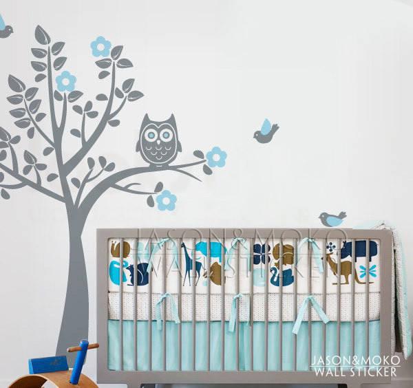 Детская наклейка на стену дерево и сова