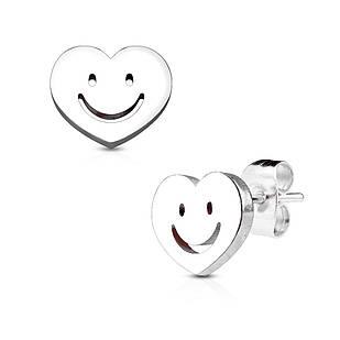 Сережки гвоздики з медичної сталі з сердечком і смайликом Spikes сріблястий
