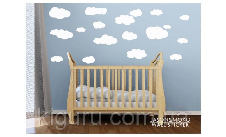 Наклейки на стену детские облака разные цвета