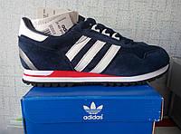Мужские кроссовки Adidas zx, темно-синего, синего цвета, КОЖА
