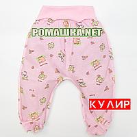 Ползунки (штанишки) на широкой резинке р. 56 ткань КУЛИР 100% тонкий хлопок ТМ Алекс 3420 Розовый А