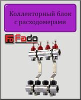 """Коллекторный блок с расходомерами Fado 1""""х3/4"""" на 7 выходов"""