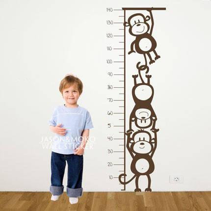 Наклейка на стену для измерения роста ребенка ростомер обезьянки