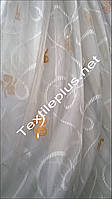 Тюль шифон батист белый с оранжевым декором