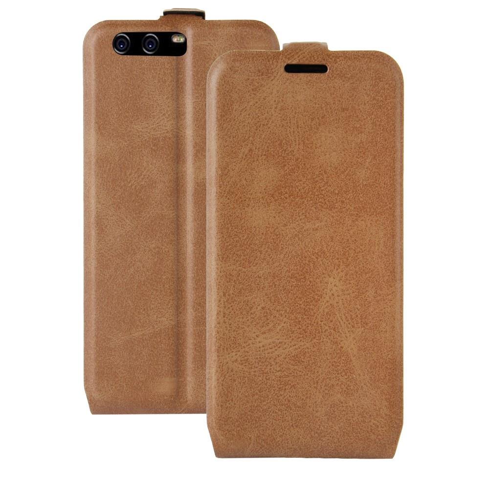 Чехол книжка для Huawei P10  вертикальный флип, Гладкая кожа, коричневый