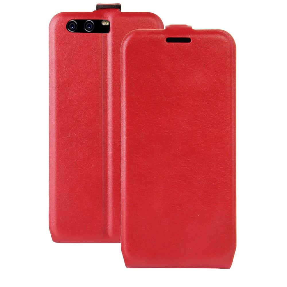 Чехол книжка для Huawei P10  вертикальный флип, Гладкая кожа, красный