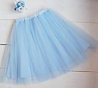 Модная юбка-пачка голубая