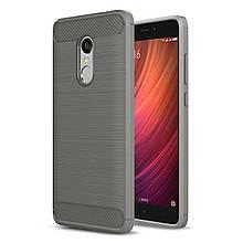 Чехол накладка IPAKY TPU Fiber Carbon для Xiaomi Redmi Note 4 серый