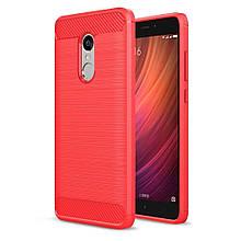 Чехол накладка IPAKY TPU Fiber Carbon для Xiaomi Redmi Note 4 красный