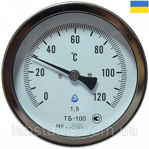 Термометр биметаллический ТБ 100-100 (0+120С) с осевым штуцером (н/ж корпус)