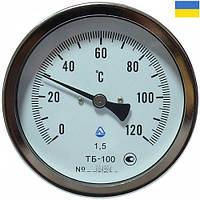 Термометр биметаллический ТБ 100-100 (0+120С) с осевым штуцером (н/ж корпус), фото 1