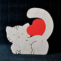 Еко-декор Котик з серцем 24*24*0,8 см Котенок из дерева