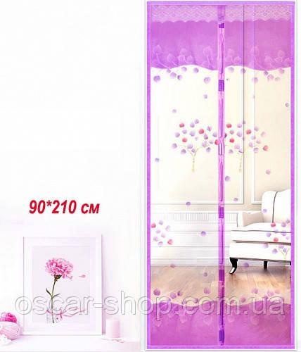Антимоскітна сітка на двері на магнітах. 90*210см. Рожева, фіолетова, кавова, бежева