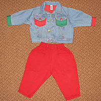 Джинсовая куртка Bhs и красные джинсики р.86 на 1,5 года