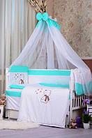 """Постельный набор в детскую кроватку """"Bepino Звездочет """" мятный в точку, фото 1"""
