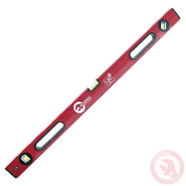 Рівень Посилений Червоний / 120см / з ручками і рифленої стороною 3 очей.