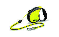 Рулетка Flexi Neon для собак светоотражающая M, трос, до 20 кг, фото 1