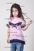 Ассиметричная блузка для девочки с кружевом