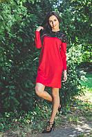 Короткое платье  из трикотажа с отделкой из гипюра