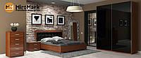 Спальня Белла  4х дв.глянец черный/вишня бюзум
