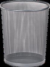 Корзина для паперів кругла 295x295x345мм, металева, срібло