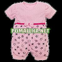 Детский песочник-футболка р. 74 для девочки ткань КУЛИР 100% тонкий хлопок 3657 Розовый