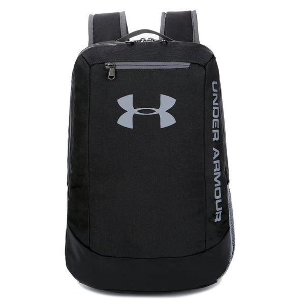 Спортивный рюкзак Under Armour черный с серым логотипом (реплика)