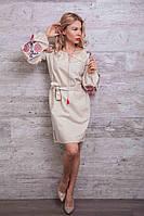 Платье-вышиванка Очарование с рукавами-фонариками светло-бежевое