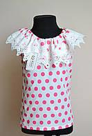 Блузка детская, летняя, с кружевом 134