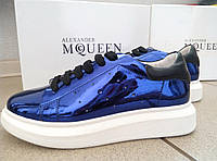 Кожаные кроссовки Alexander McQueen, Маквин, синего цвета, синий цвет, отражение, Prada, оригинал