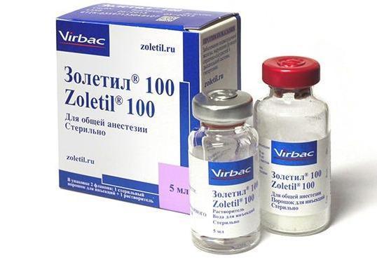 Золетил-100 5 мл средство для общей анестезии кошек и собак.