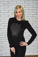 Велюровый спортивный костюм Совушка черный, фото 1