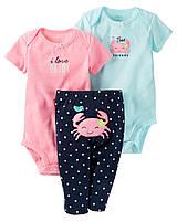 """Комплект Carter's """"Крабик"""" для девочки 3 в 1: боди с коротким и длинным рукавом, и штанишки (6 мес)"""