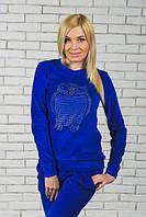 """Велюровый спортивный костюм  """"Микки череп"""" синий електрик"""