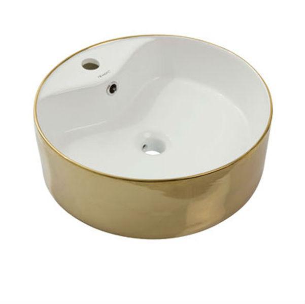 Умывальник NEWARC Countertop 47 (5017G-W) золото/белый, с/п, (46.5*46.5*15)
